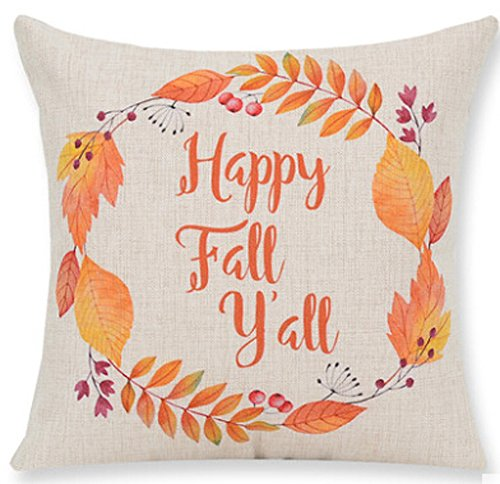 Pumpkin Maple Leaf Wreath Personalized Happy Fall Vintage Letters Halloween Gifts. New Home Room Sofa Car Decorative Cotton Linen Throw Pillow Case Cushion Cover Square 18 X 18 Inches