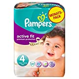 Pampers Active Fit Couches Pack Economique 1 Mois de Consommation x 168 Couches Taille 4 7-18 kg