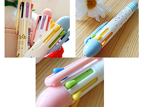 Set of 3 pcs Cute Cartoon Girl Multicolor 7 Colours Ball Point Pen Office Stationery