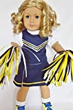 Blue and Gold Cheerleader Outfit Complete with Shoes-Socks - Signature Teddy Bear- and Hair Ties- for American Girl Dolls