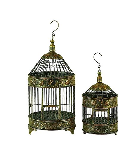Deco 79 Metal Bird Cage, 24-Inch and 16-Inch, Set of 2 0