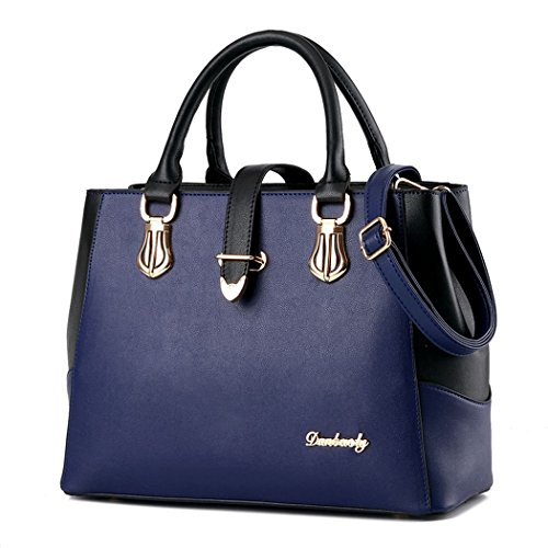 Ryse Womens Fashionable Classic Multilayer Metal Buckle Exquisite Handbag Shoulder Bag(Navy)