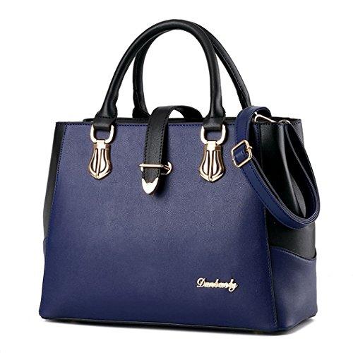 Ryse Womens Fashionable Classic Multilayer Metal Buckle Exquisite Handbag Shoulder Bag(Navy)