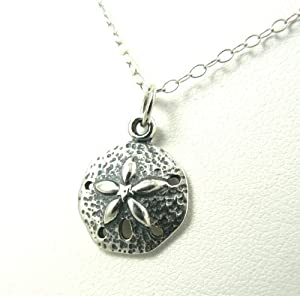 Small Sand Dollar Sterling Silver Charm Necklace Ocean