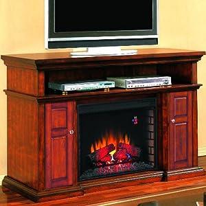 Pasadena 60 Inch Electric Fireplace Media Console Walnut 28mm468 Gas Logs