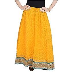 SHREEMANGALAMMART Rajasthani Ethnic Yellow Pure Cotton Skirt (Yellow)(SMSKT595)
