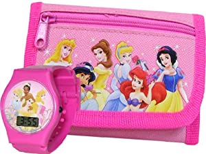 Disney Princess Pink Wallet and LCD Watch for Girls from Disney