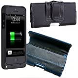 ZuZo Premium Leather Holster Pouch Case for iPhone 5 Battery Case iPhone 5 Bumper Case or Regular iPhone 5 Case- Black