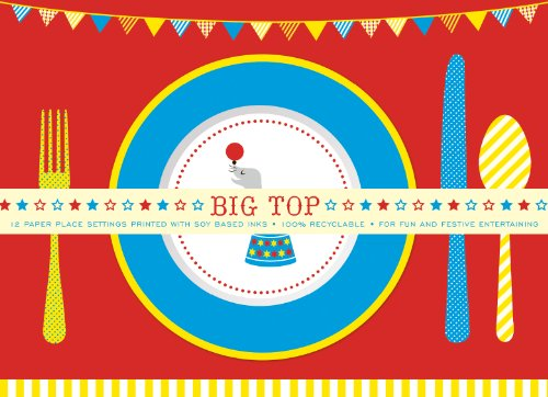 Party Partners Design Retro Big Top Circus Themed Placemats, Blue/Red, 12 Count