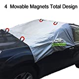 Magnetic Windshield Snow Cover Elastic with hooks Fixed Four wheels & Reflective Warning Bar on Mirror Covers - Ice Sun Frost and Wind Proof in All Weather, Fit for Most Vehicle