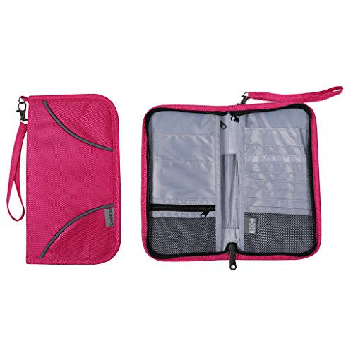 SanHoo RFID Blocking Travel Wallet & Passport Holder-an All in One Travel Organizer for Passport/ ID Card /Boarding Pass /Mobile Phone-Color Pink