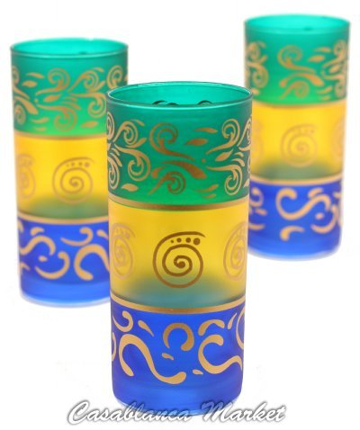 Moroccan Berber Tea Glasses Green/Yellow/Blue (Set Of 6)