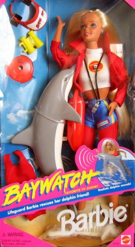 baywatch barbie barbie doll dressed as a lifeguard toys dolphin
