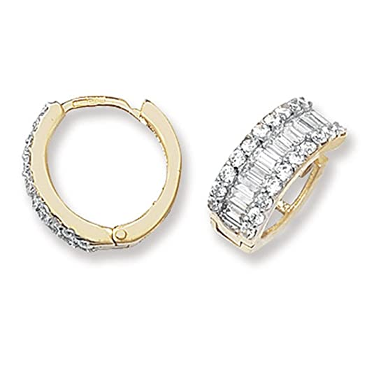 9ct Yellow Gold 14MM Cubic Zirconia Hinged Hoop Earrings