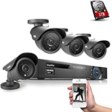SANNCE® 8CH 960H CCTV DVR Recorder 1000GB HDD with 4x 900TVL 42IR 110ft Superior Night Vision Leds Security Cameras System (960H/D1, HDMI/VGA/BNC Output, 900TVL Hi-Resolution, Vandalproof/Weatherproof Metal Housing, P2P Technology/E-Cloud Service, Smartphone QR Code Scan Quick Access, PC Easy Remote Access)
