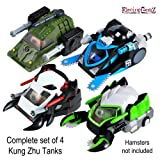 Kung Zhu Hamster Tank Assortment - Complete set of 4 Tanks: Spider Skull, Buzzsaw, Rhino & Scorpion