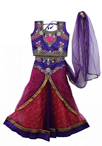 Rani pink and voilet combination kids party wear ghagra choli, Indian clothing