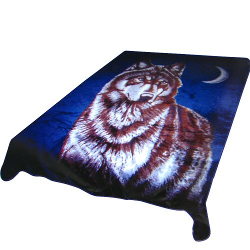 Trademark Home Acrylic Mink Blanket, Wolf And Moon