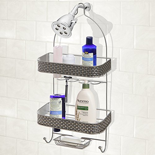 Modern silver metal 2 tier shower rack hand soap for Modern silver home accessories