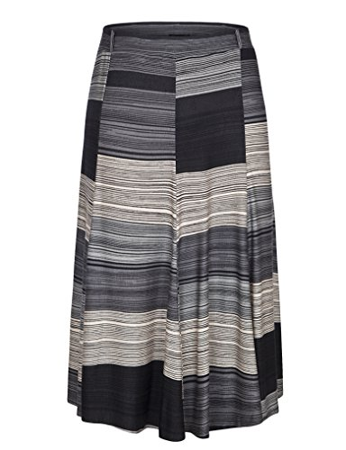 Chicwe Women's Plus Size Stretchy Waistband A-Line Flared Skirt 14 Black&Grey