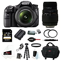 Sony a58 SLT-A58K SLTA58K DSLR Camera and 18-55mm Lens Bundle with Sigma 70-300/4.0-5.6 DG Digital Ready Macro Zoom Lens + Sony 32GB Memory Card + Tiffen UV Protector Filter Set + Replacement Battery + Accessory Bundle