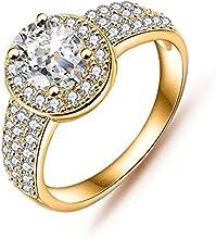 Comprar Anazoz joyería anillo Förster oro 18 K platino plateado Big Cut circonios incrustaciones Fashion anillo oval