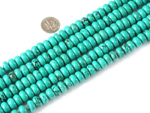 Sweet & Happy Girl'S Store 4X10Mm Rondelle Gemstone Natural Turquoise Beads Strand 15