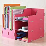 KF255 DIY Simple Wooden Desktop Sorter Stationary Office Supplies Desk Drawer Removable Dividers Portable Cosmetics Jewellery Storage Organizer with Multi Compartments (Rose Red)