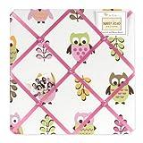 Pink Happy Owl Fabric Memory/Memo Photo Bulletin Board by Sweet Jojo Designs