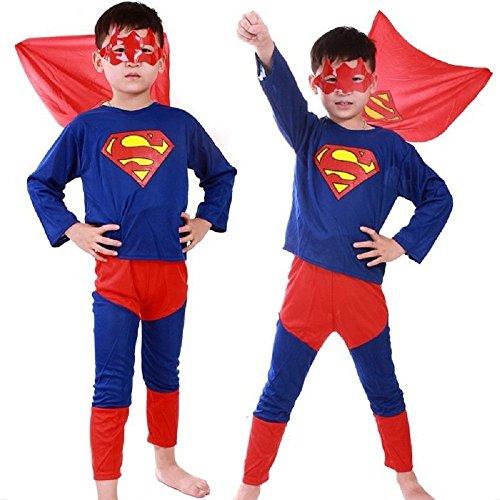 COSTUME DA SUPERMAN 3-4 ANNI TAGLIA S TRAVESTIMENTO DI CARNEVALE E HALLOWEEN BAMBINO (CONTROLLARE LE MISURE IN CENTIMETRI DELLA TAGLIA) BAT MAN- HLLW