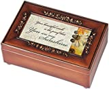 You are My Sunshine Cottage Garden Rich Walnut Finish with Brushed Gold Rose Trim Petite Jewelry Music Box - Plays Song You are my Sunshine