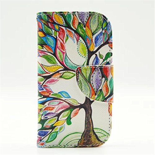 Galaxy S3 Mini Case,Love Sound Colorful Tree Tribe [Kickstand Feature] Luxury Wallet PU Leather Folio Wallet Flip Case Cover Built-in Card Slots for Samsung Galaxy S3 Mini i8190(Not for Galaxy S3) (Folio Samsung S3 Mini compare prices)