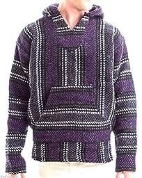 Baja Joe - Premium Woven Baja Hoodie Jerga Mens (X-Large, Purple)