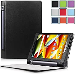 Yoga Tablet 3 8 Case - HOTCOOL Ultra Slim Lightweight Folio With Auto Sleep / Wake Feature Cover Case For 2015 Released Lenovo Yoga Tablet 3 8-Inch Tablet, Black