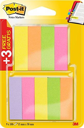 post-it-670-6-3-lot-de-9-x-100-marque-page-autocollants-et-fins-15-x-50-mm-rose-fluo-vert-fluo-jaune