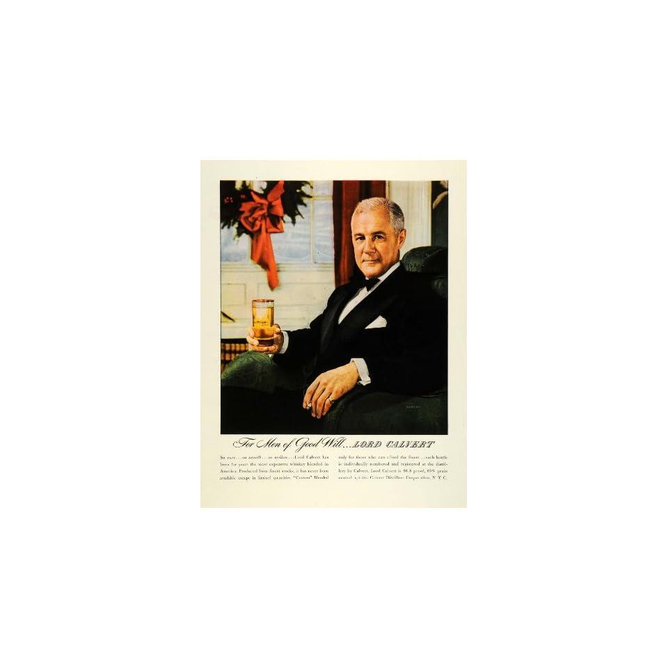 1945 Ad Lord Calvert Whiskey Liquor Drinking Smoking Black Tie Affair Christmas   Original Print Ad