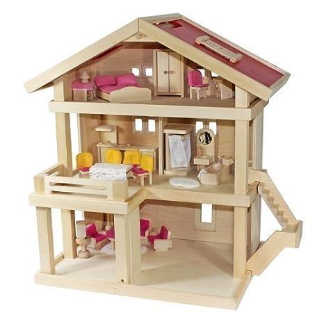 Villa Freda rose Maison De Poupée Villa de ville + Housses + Meubles pour maison de poupée 26 pièves + Berceau de bébé en Bois 3 étages 46 x 35 X 58 cm