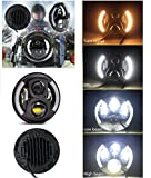#6: Andride 7inch Round Hi/Lo Cree LED Headlights with DRL & Halo Angel Eyes & Turn Signal for Royal Enfield Classic 350/500 CC/Classic Chrome/Electra ,350/500/Standard 350/500 CC