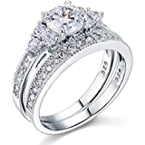Sterling Silver 925 1 Carat Bridal Crystal Vintage Antique Wedding Engagement Set Fine Ring with PreciousBags Dust Bag