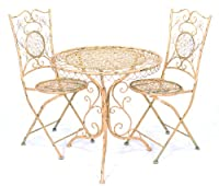 Cast Iron Antique Look Bistro Table and 2 Chairs Set - White by American Silkflower International Inc.