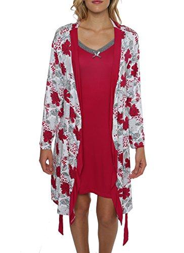 kathy ireland Women's 2 Piece Robe & Chemise Nightgown Sleepwear Set W Lace Trim