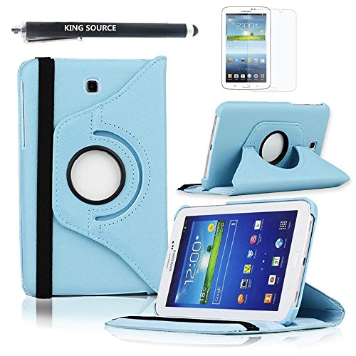 Kingsource (TM) 360 Rotating Leather Stand Case Cover for Samsung Galaxy Tab 3 7.0 SM-T210R and SM-T217S 7-Inch P3200 Tablet with 1 Screen Protector, 1 Stylus and Microfiber Digital Cleaner color blue