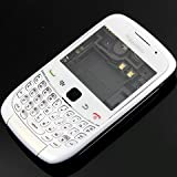 White Full Cover Door Housung Case Fascia Plate Panel with Keypad for Blackberry 9300 Curve - Mobile Phone Repair Parts Replacement