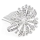 Silver Plated Crystal Bridal Hair Slide Comb Pin Women
