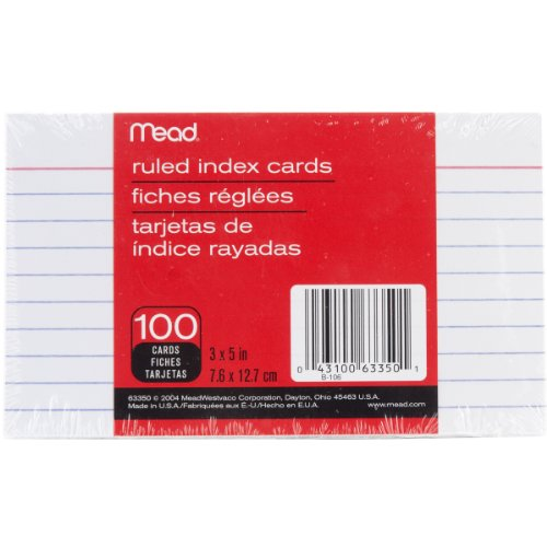 Mead Index Cards, Ruled, 3 x 5 Inch