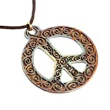 Filigree Iridescent Peace Symbol Pendant Necklace on Adjustable Natural Fiber Cord