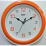 Ajanta Quartz Plastic Round Shape 20.5 Cm X 20.5 Cm Fancy Simple Small Size Home Decor Wall Clock (Orange) For...