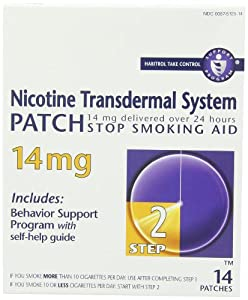 Nicotine Transdermal System Patch, Stop Smoking Aid, 14 mg, Step 2, 14 patches