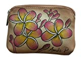 Pink Plumeria Hand Painted Leather Coin Purse