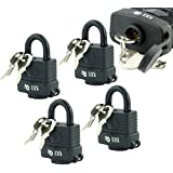 Target TL171 Pack of 4 - Waterproof Weatherproof Heavy Duty Padlock - 3 Keys Per Lock - Fully Coated - Designed to Use Outdoors